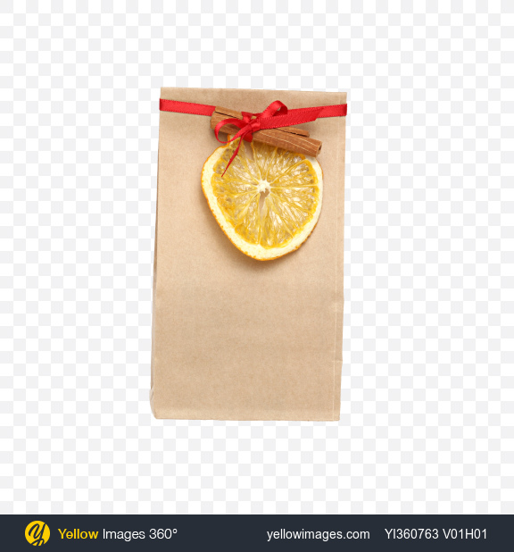 Download Christmas Gift in Paper Bag with Cinnamon and Dried Orange Slice Transparent PNG on YELLOW Images