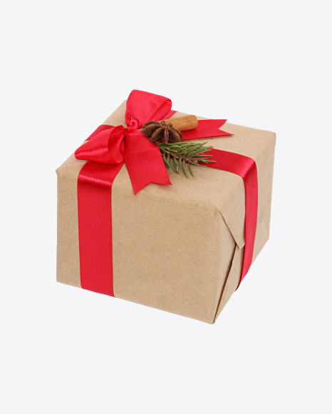 Download Christmas Gift Box Wrapped In Craft Paper With Red Bow And Decor Transparent Png On Yellow Images 360