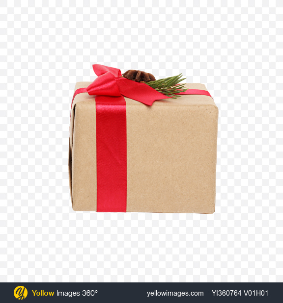 Download Christmas Gift Box Wrapped in Craft Paper with Red Bow and Decor Transparent PNG on YELLOW Images