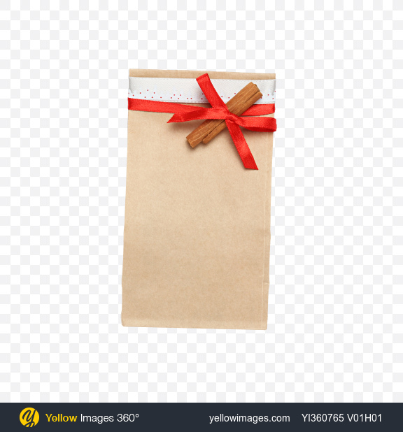 Download Christmas Gift in Paper Bag with Cinnamon Stick Transparent PNG on YELLOW Images