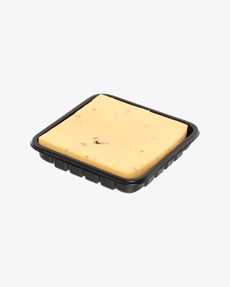 Block of Cheese with Walnut in Tray