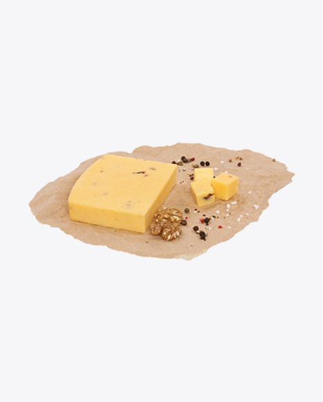 Block of Cheese, Walnuts and Spices on Craft Paper