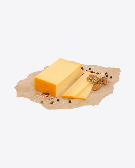 Sliced Block of Gouda Cheese, Nuts and Spices on Craft Paper