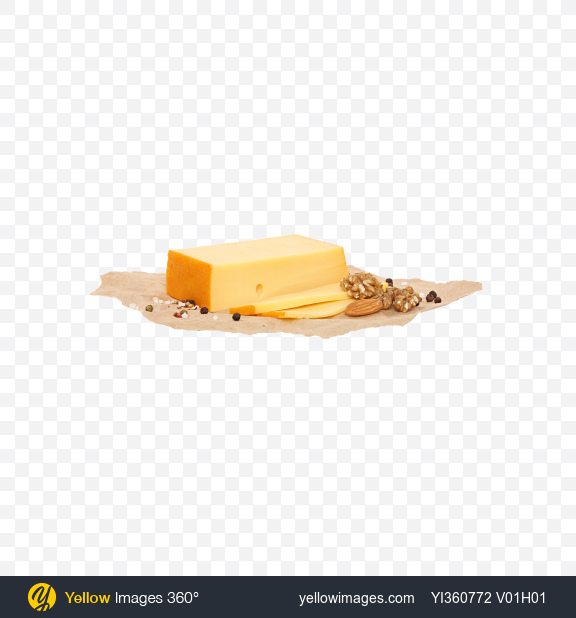 Download Sliced Block of Gouda Cheese, Nuts and Spices on Craft Paper Transparent PNG on YELLOW Images