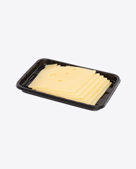 Slices of Maasdam Cheese in Tray