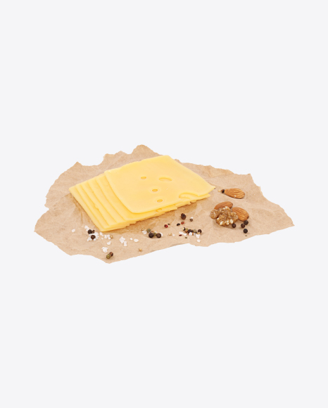 Slices of Maasdam Cheese, Nuts and Spices on Craft Paper