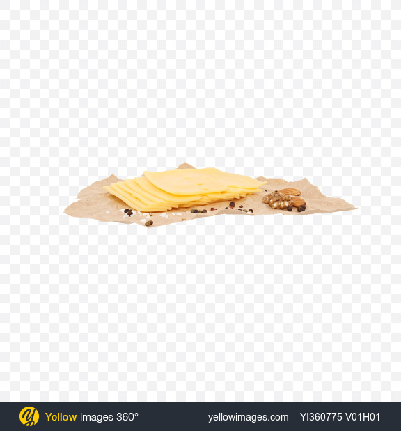 Download Slices of Maasdam Cheese, Nuts and Spices on Craft Paper Transparent PNG on YELLOW Images