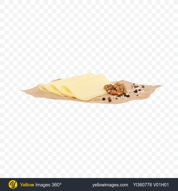 Download Havarti Cheese Slices, Nuts and Spices on Craft Paper Transparent PNG on YELLOW Images