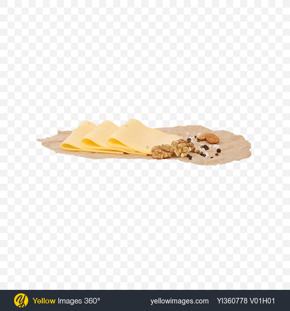 Download Slices of Cheese with Fenugreek, Nuts and Spices on Craft Paper Transparent PNG on YELLOW Images