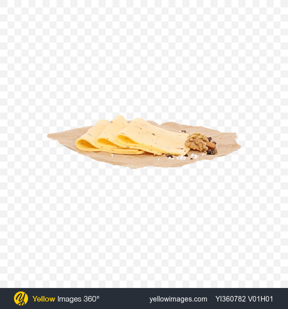 Download Slices of Cheese with Tomato and Basil, Nuts and Spices on Craft Paper Transparent PNG on YELLOW Images