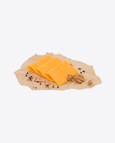 Cheddar Cheese Slices, Nuts and Spices on Craft Paper