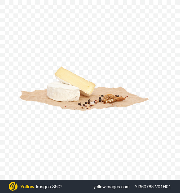 Download Camembert Halves with Nuts and Spices on Craft Paper Transparent PNG on Yellow Images 360°