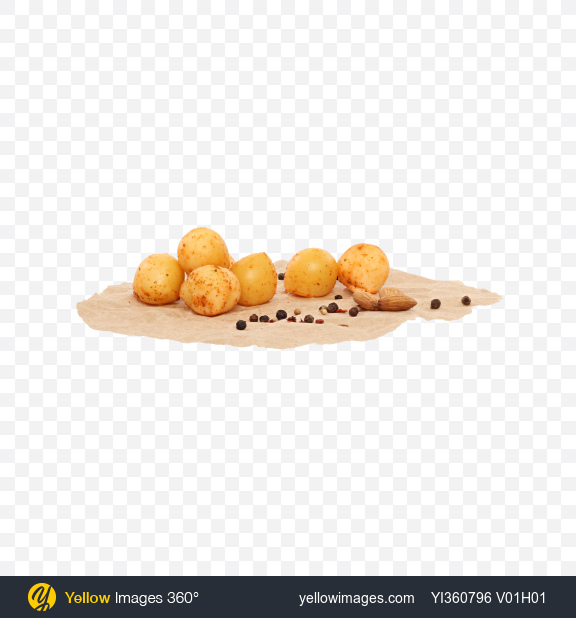 Download Smoked Cheese Balls in Paprika with Nuts and Spices on Craft Paper Transparent PNG on YELLOW Images
