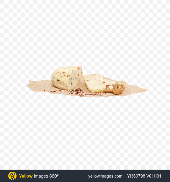 Download Sliced Soft Cheese with Tomato and Basil, Nuts and Spices on Craft Paper Transparent PNG on YELLOW Images