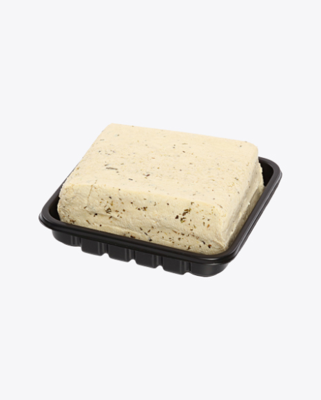 Block of Tofu Cheese with Herbs in Tray