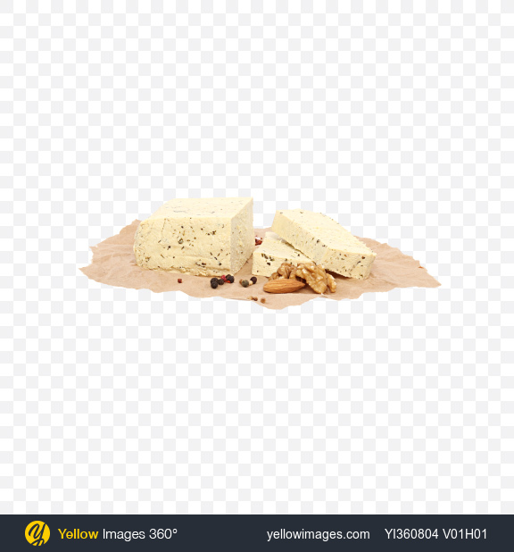 Download Sliced Tofu Cheese, Nuts and Spices on Craft Paper Transparent PNG on YELLOW Images