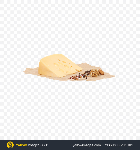 Download Maasdam Cheese Triangle, Nuts and Spices on Craft Paper Transparent PNG on YELLOW Images