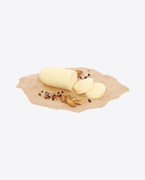Sliced Mozzarella Cheese with Nuts and Spices on Craft Paper