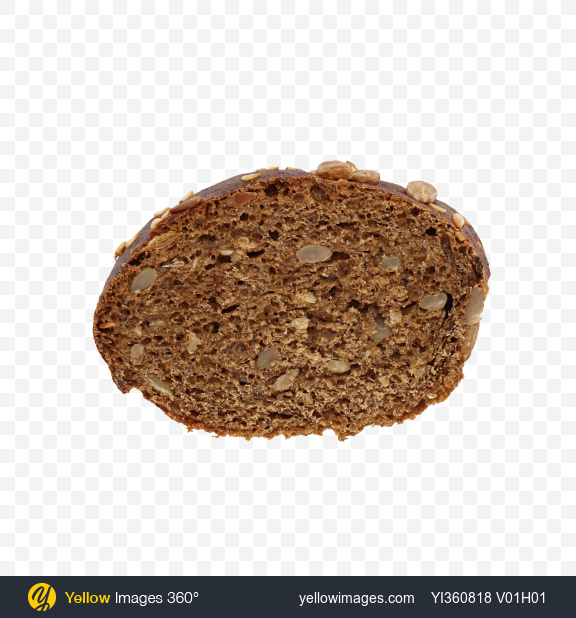 Download Slice of Wheat-Rye Bread with Sesame and Sunflower Seeds Transparent PNG on YELLOW Images