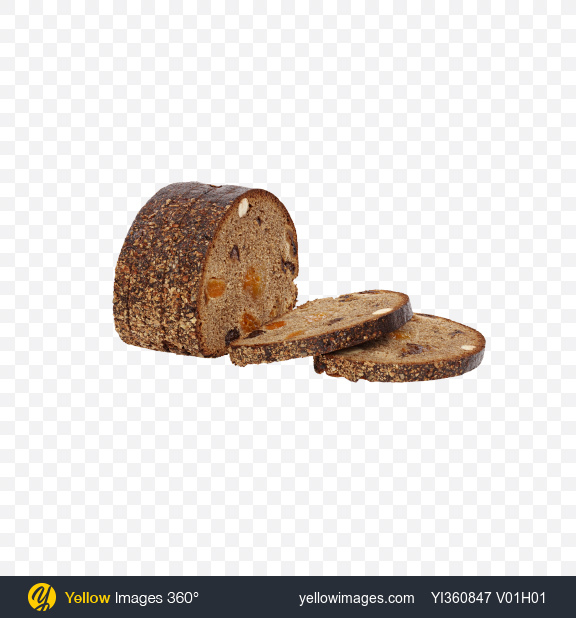 Download Slices of Bread with Dried Fruits and Hazelnuts Transparent PNG on YELLOW Images