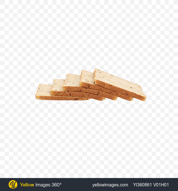 Download Five Slices of Wheat Sandwich Bread with Seeds Transparent PNG on Yellow Images 360°