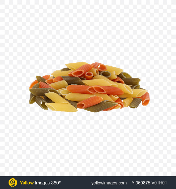 Download Colored Pasta Penne Bunch Transparent PNG on Yellow Images 360°