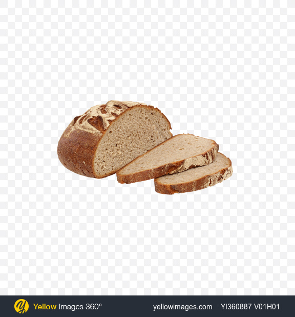 Download Half of Round Bread and Slices Transparent PNG on Yellow Images 360°