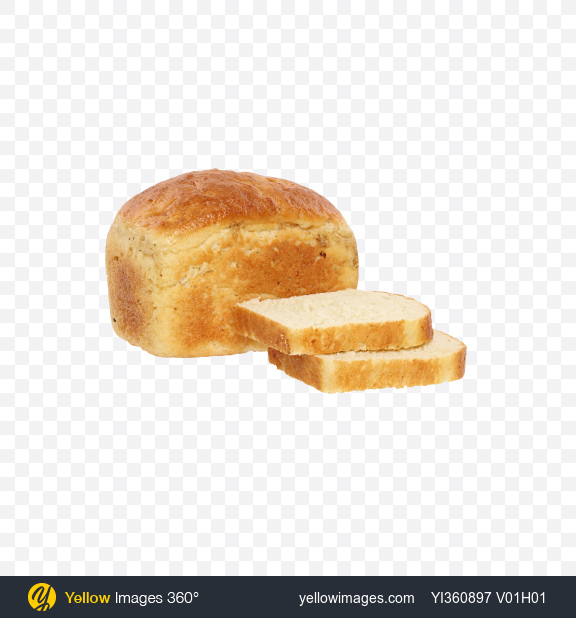 Download Wheat Bread Loaf and Slices Transparent PNG on Yellow Images 360°