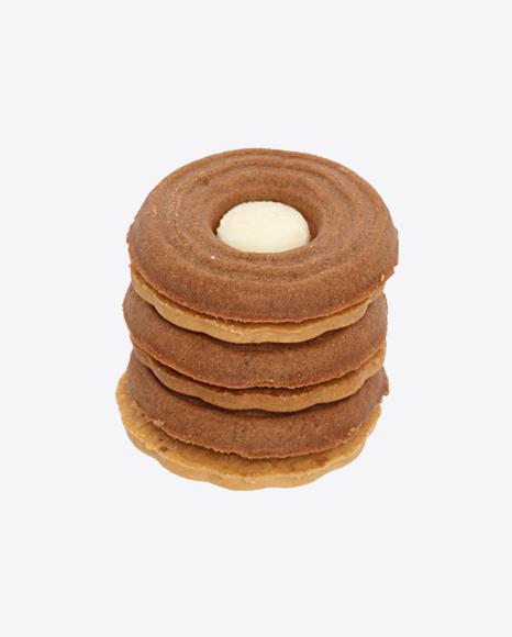 Stack of Sandwich Cookies with Vanilla Cream