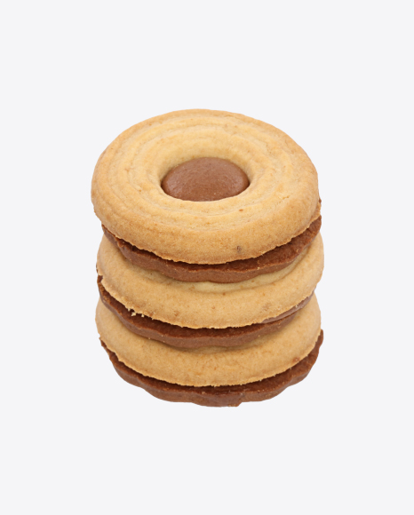 Stack of Sandwich Cookies with Chocolate Cream