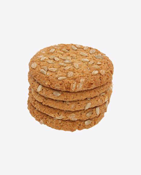 Stack of Oat Cookies with Sunflower Seeds