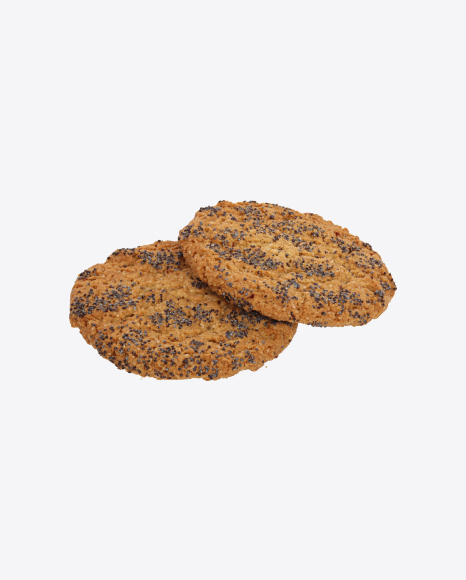 Two Oat Cookies with Poppy Seeds