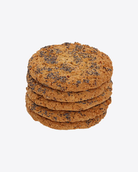 Stack of Oat Cookies with Poppy Seeds