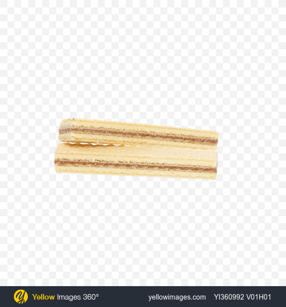 Download Two Wafers with Chocolate and Milk Cream Transparent PNG on Yellow Images 360°