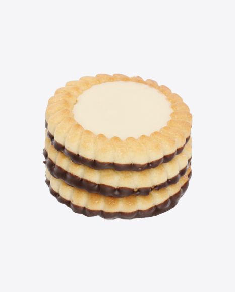 Stack of Cookies with Vanilla Cream and Chocolate
