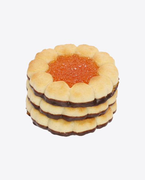 Stack of Orange Marmalade Cookies with Chocolate