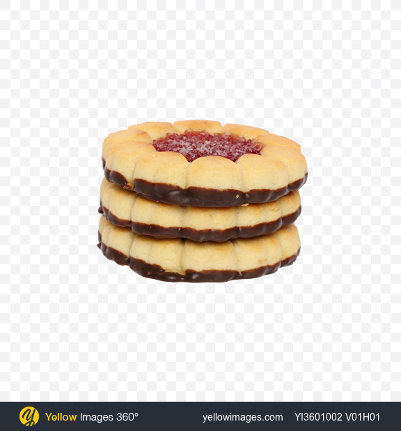 Download Stack of Cherry Marmalade Cookies with Chocolate Transparent PNG on Yellow Images 360°
