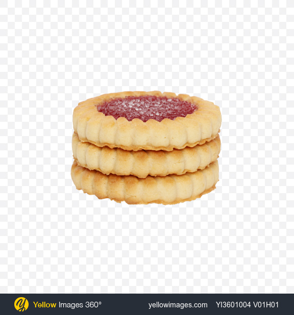 Download Stack of Cherry Marmalade Cookies Transparent PNG on Yellow Images 360°