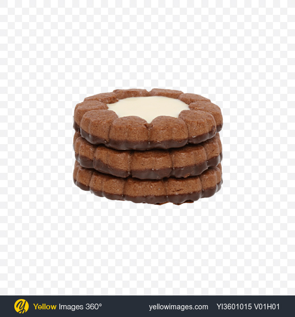 Download Stack of Chocolate Cookies with Vanilla Cream Transparent PNG on Yellow Images 360°