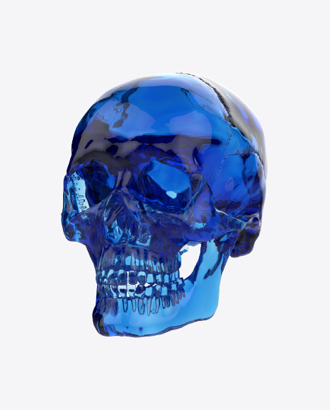 Blue Glass Skull