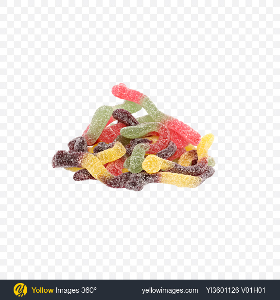 Download Bulk of Sugar Coated Gummy Worms Transparent PNG on Yellow Images 360°