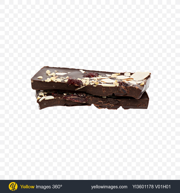 Download Two Pieces of Dark Chocolate with Nuts and Dried Cranberries Transparent PNG on Yellow Images 360°