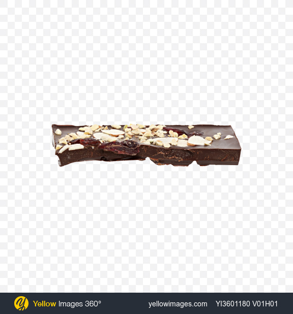 Download Dark Chocolate with Nuts and Dried Cranberries Transparent PNG on Yellow Images 360°