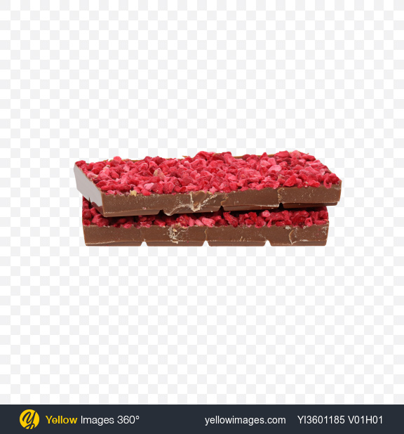 Download Two Pieces of Milk Chocolate with Dried Raspberries Transparent PNG on Yellow Images 360°
