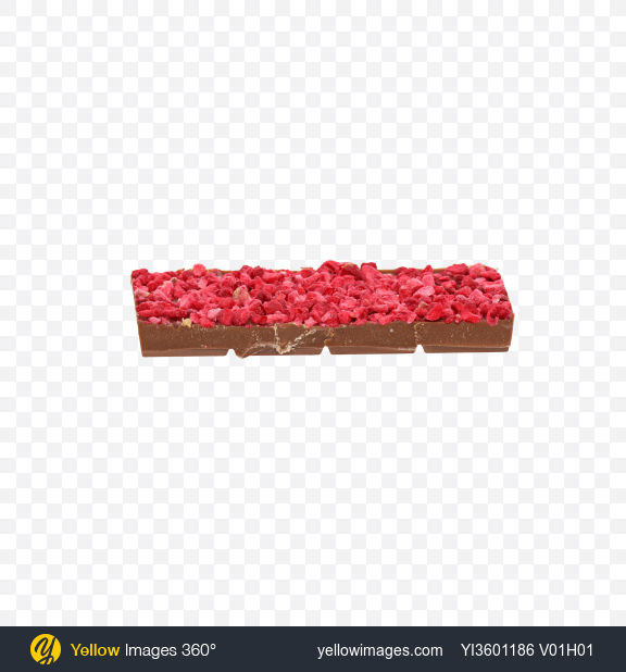 Download Piece of Milk Chocolate with Dried Raspberries Transparent PNG on Yellow Images 360°