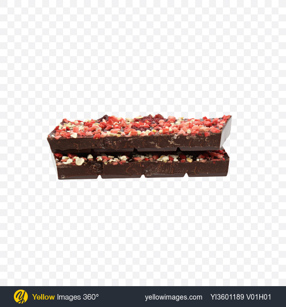 Download Two Pieces of Dark Chocolate with Dried Strawberries and Cranberries Transparent PNG on Yellow Images 360°