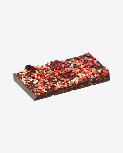 Piece of Dark Chocolate with Dried Strawberries and Cranberries