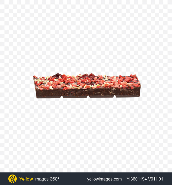 Download Piece of Dark Chocolate with Dried Strawberries and Cranberries Transparent PNG on Yellow Images 360°