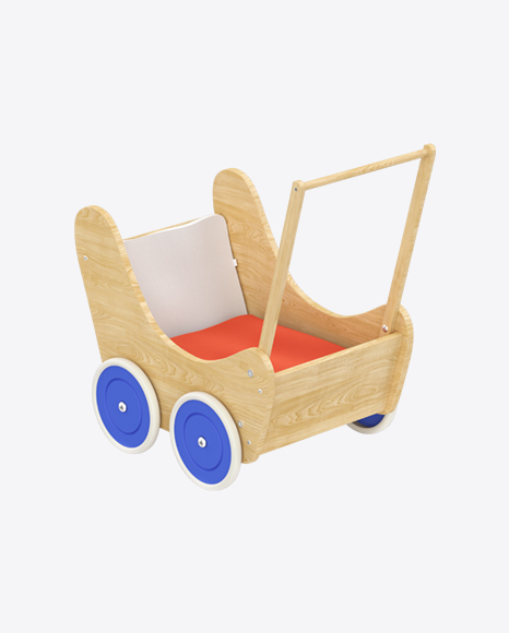 Wooden Toy Baby Carriage
