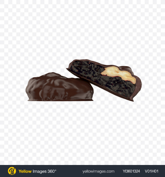 Download Chocolate Coated Dried Plums and Nuts Transparent PNG on Yellow Images 360°